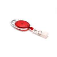 Karten-JoJo oval, transparent-rot mit Karabiner 25 Stk.