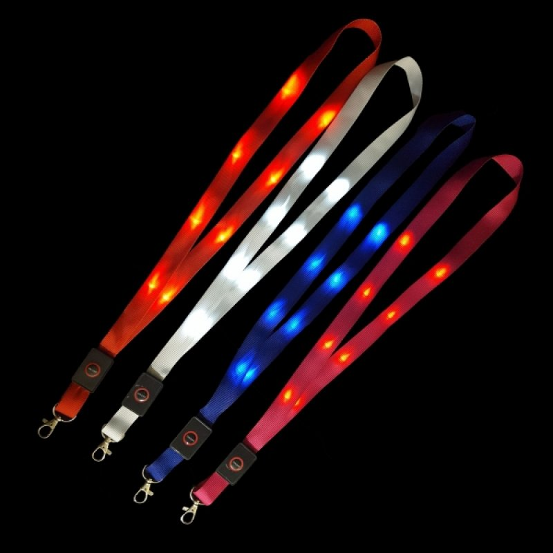 Lanyard weiß mit LED-Beleuchtung